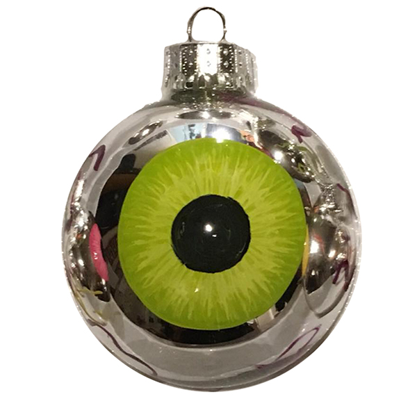 Green Iris chrome eye eyeball ornament
