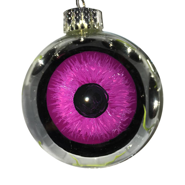 Purple iris eyeball ornament