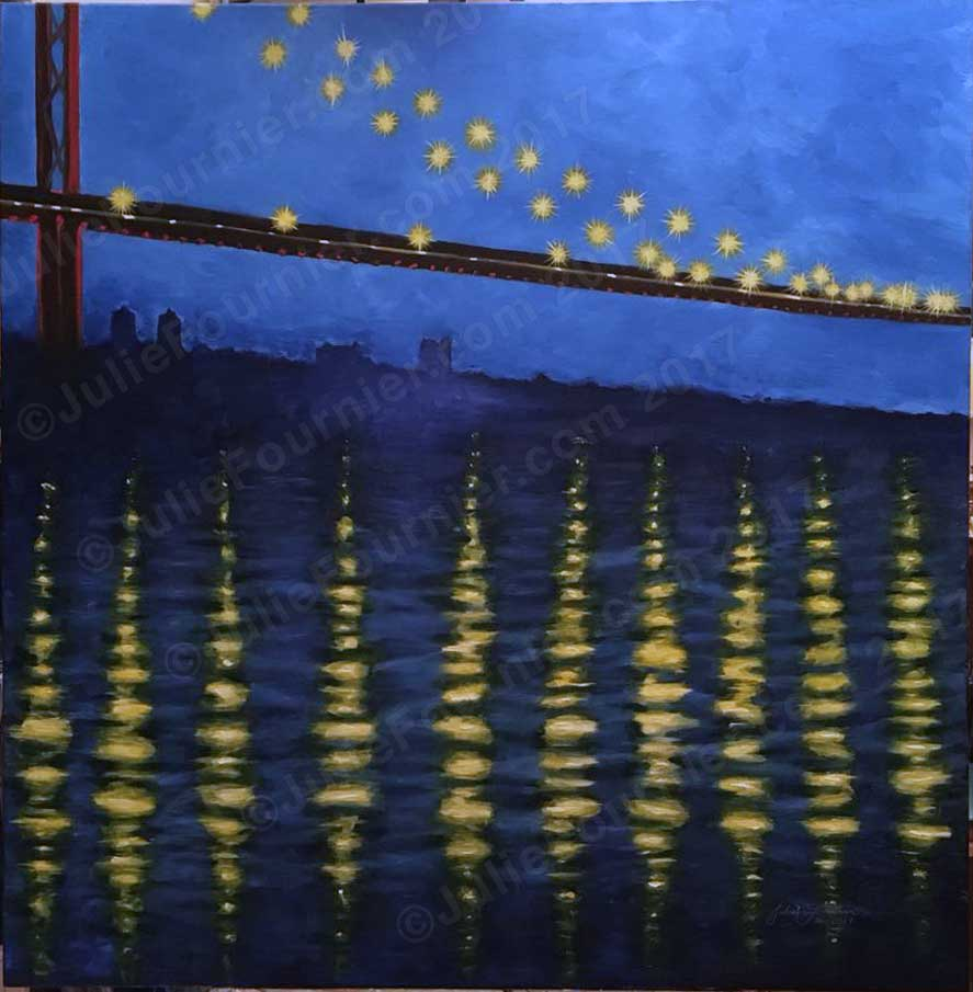 Julie Fournier Ambassador Bridge at Night oil painting