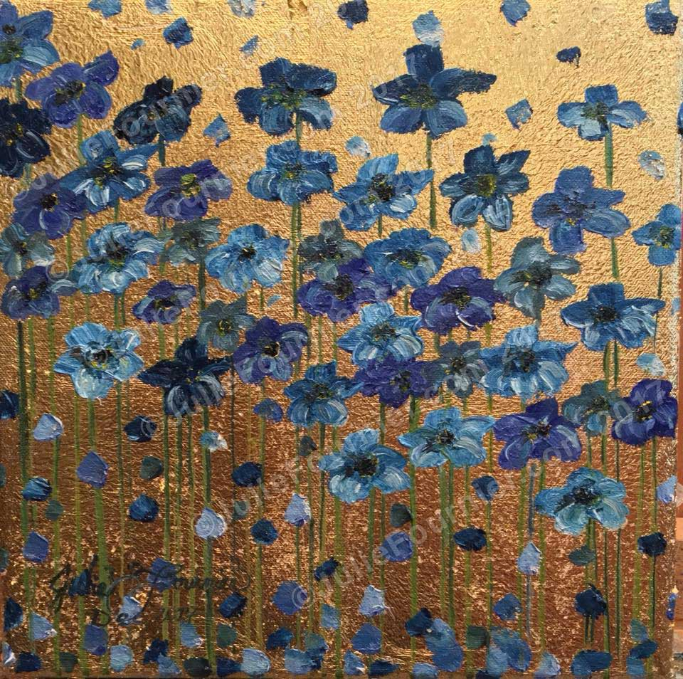Blue flowers on gold leaf by Julie Fournier