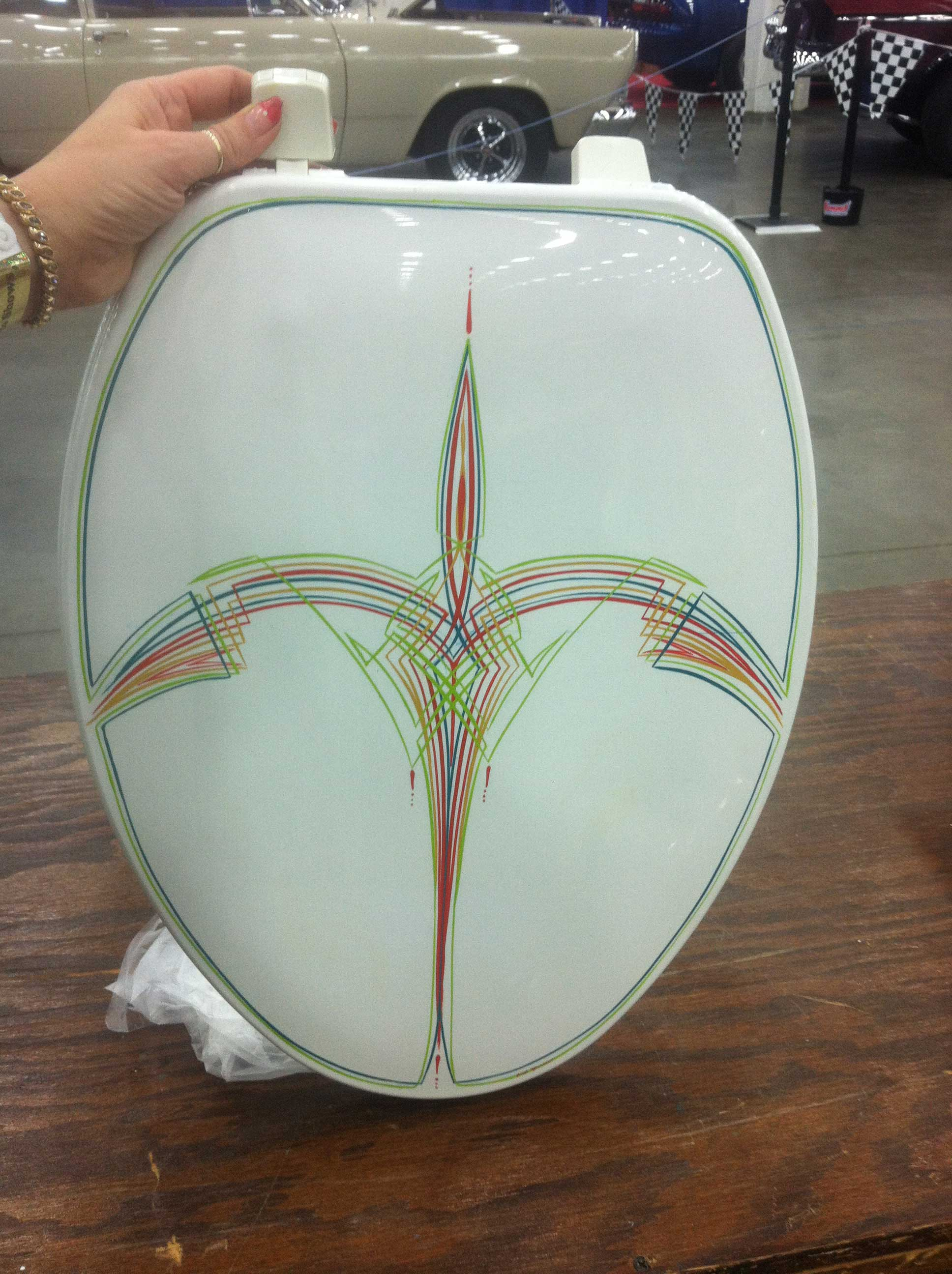 Pinstriped toilet seat by Julie Fournier