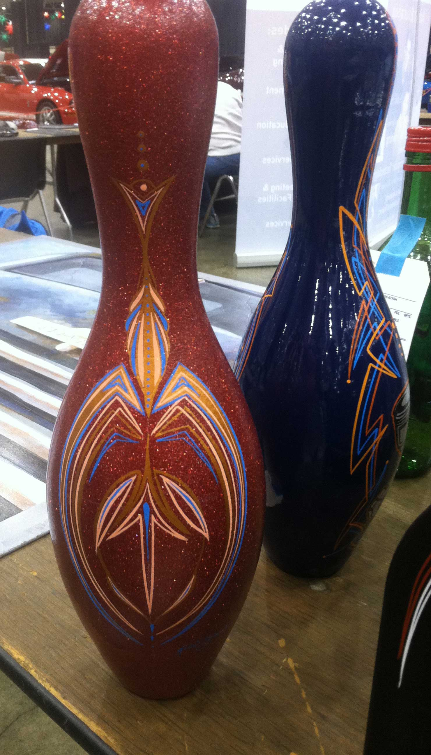 Pinstriped bowling pin by Julie Fournier