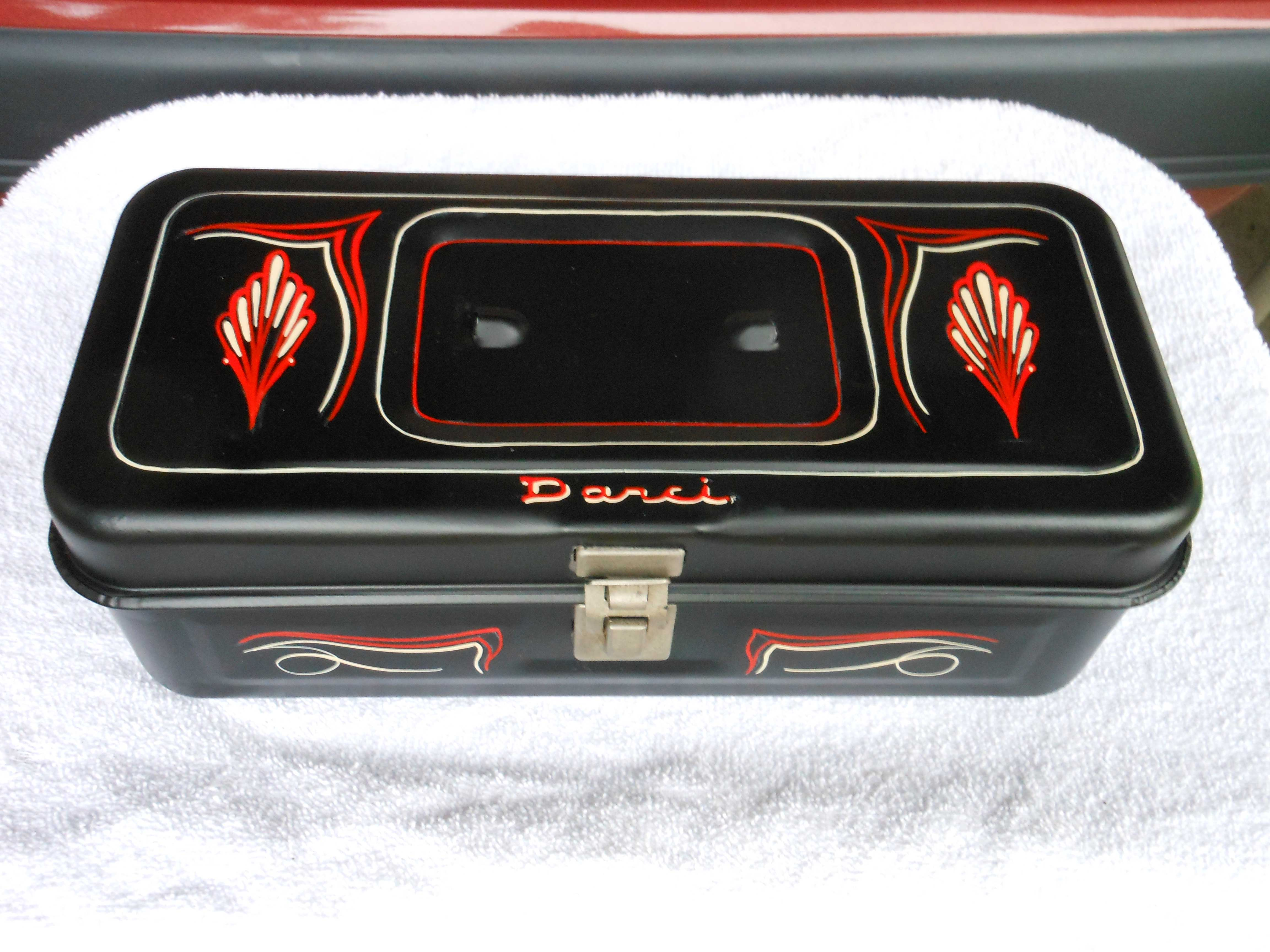 Pinstriped toolbox by Julie Fournier